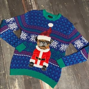 Blizzard Bay Pug ugly Christmas sweater small